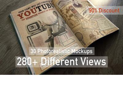 30 Photorealistic Mockups 280  Different Views frame logo mock up bus station apple ipad tablet t-shirt discount mockups bundle