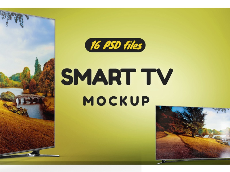 Smart TV Mockup led display led lcd hd full hd display design curved tv clean cinema