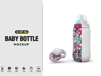 Baby Bottle and Pacifier Vol.1 Mockup
