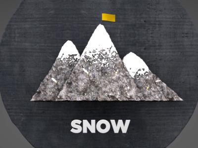 Snow animation mountain flag snow rock