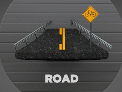 Road road pavement sign guard rail animation