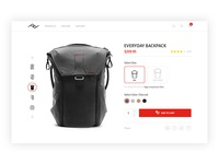 Peak Design Ecommerce Product Page Header
