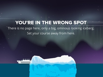 404 page - Iceberg aurora borealis northern lights iceberg titanic web design 404