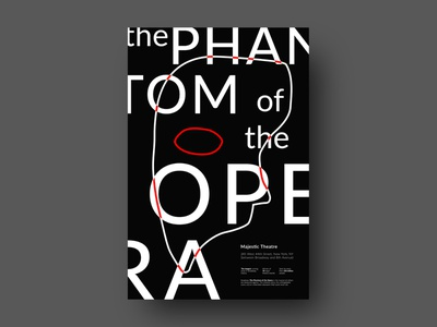 The Phantom of the Opera Poster type poster art phantom of the opera black and white black minimal poster a day illustration photoshop graphicdesign typogaphy print abstract music poster