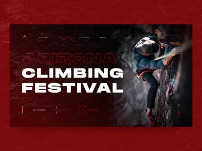 Climbing Festival | Concept hiking climb rock black red sports sport mountains climbing dark ux dailyui homepage ui webdesign web uidesign design