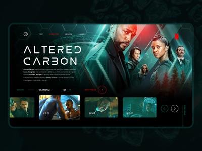 ALTERED CARBON | Concept tech green altered carbon tv series tv show tv dark dailyui homepage ui webdesign web uidesign design