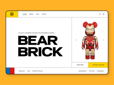 BEARBRICK Online store ui design figma website design interface ux  ui uxui ui  ux uiux webdesign ux brutalism web design shop website ecommerce store toy web ui design