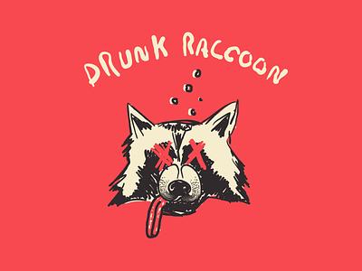 Drunk Raccoon raccoon illustration illustrator sketch mark logo design atlanta atl identity branding
