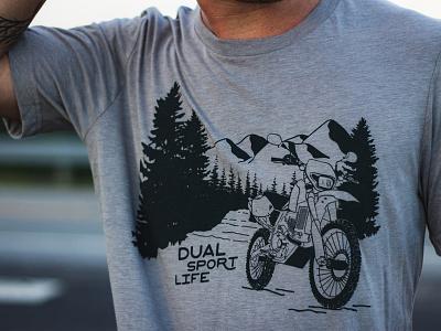 Dual Sport Life Woods Tee outdoors mountains shirt motorcycle dual sport mark logo illustrator design atlanta identity branding