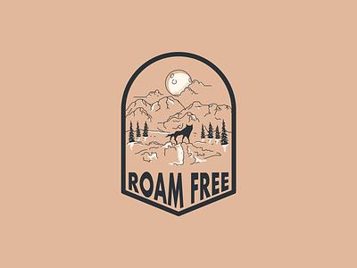 Roam Free Badge mountains wolf badge branding illustrator illustration design
