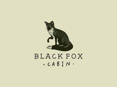 blackfoxcabin logo hand drawn fox identity branding logo icon illustration design