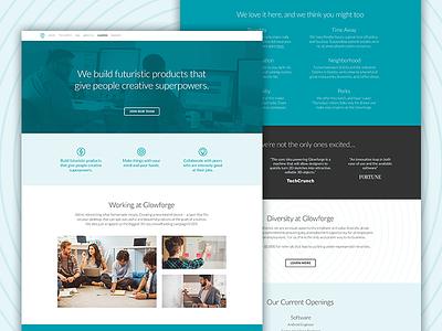 Glowforge Careers Page single page grid redesign laser wip ui landing page careers