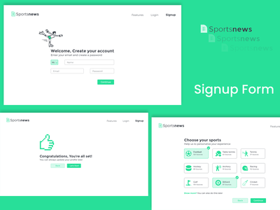 Sportnews Signup form Ui signup screen material flat green signup form uiux ui sports signupform signup page signup