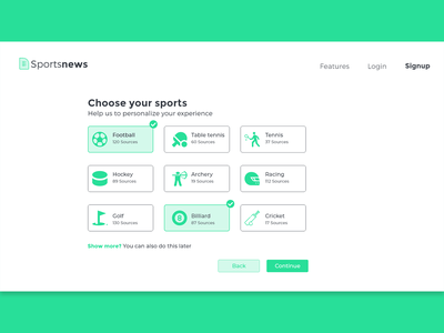 SignUp for sportsnews #2 signup logo design userinterface uiux ux ui