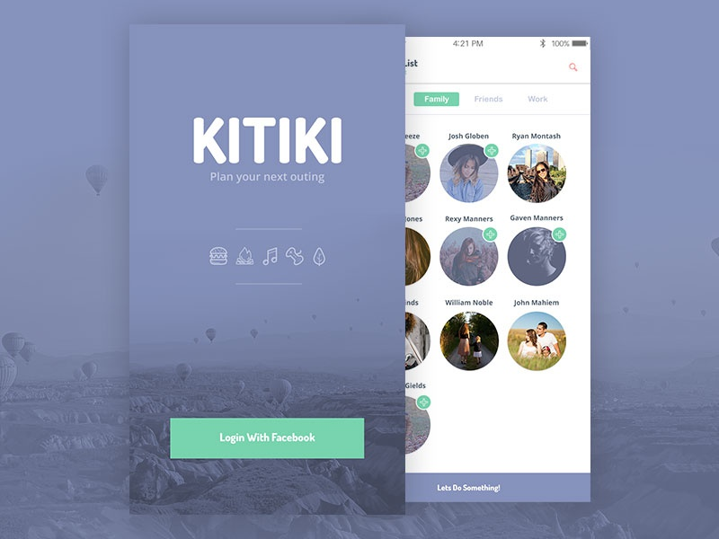 Plan Outing Concept login social user interface friends ios app mobile ux ui