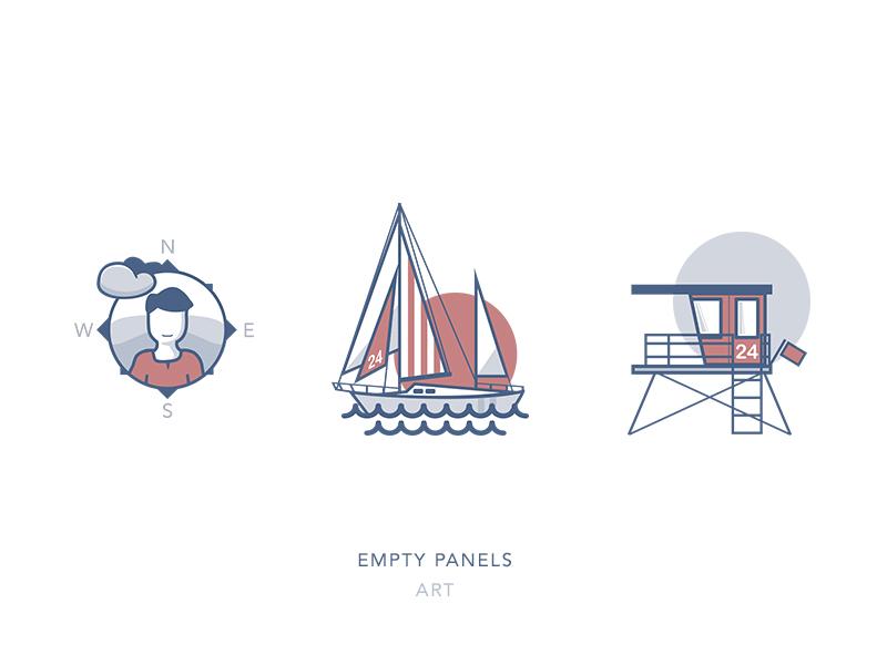 Empty Panel Art profile lifeguard sailboat illustration line art icons ios app empty panel