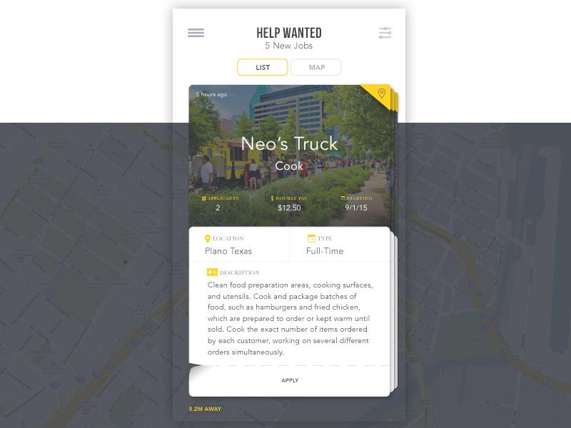 Job Swipe map location job mobile ios app swipe