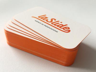 La Slide - Business Cards colored edges colorful beautiful brand presentations logo paper print oranges round corner business cards