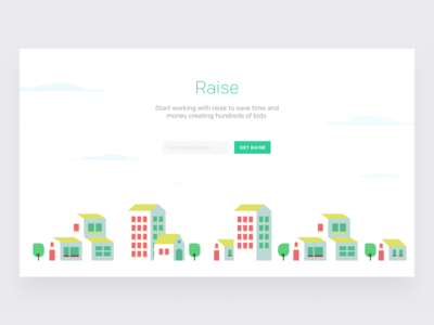 Raise Landing Page Illustration interaction flat web ux vector ui design typography raise illustration page landing