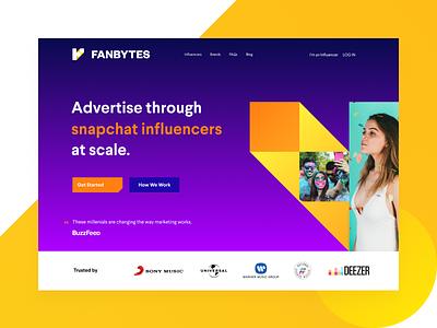 Fanbytes Landing Page fanbytes influencer marketing landing page influencers advertisements clean web design