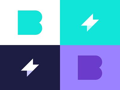 Bolt Invoice App Monogram thunder brand branding app invoice bolt symbol mark logo icon design