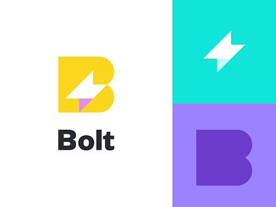 Bolt Monogram thunder brand branding app invoice bolt symbol mark logo icon design
