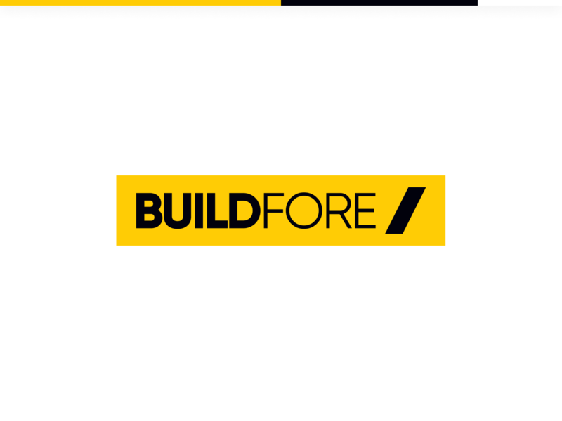 BuildFore logo monogram identity builder building industry clean design brand construction yellow logo branding