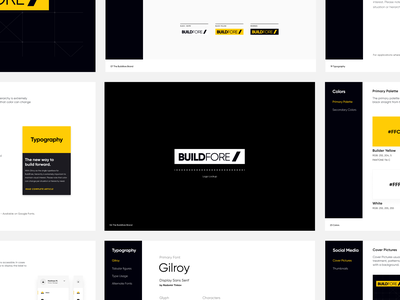Buildfore Brand Guide guidebook guide monogram identity builder building industry clean design brand construction yellow logo branding