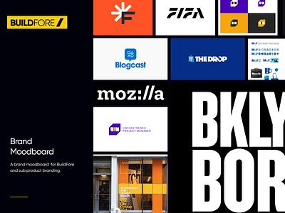 BuildFore Moodboard moodboard monogram identity building industry clean design brand construction yellow logo branding