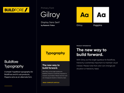 BuildFore Typography gilroy font typography monogram identity builder building industry clean design brand construction yellow logo branding