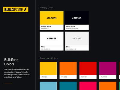 BuildFore Colors monogram identity builder building industry clean design brand construction yellow logo branding