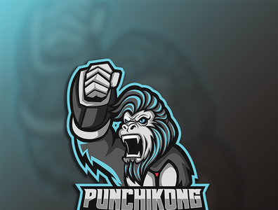 Punching Kong Sport logo esport design game streamerlogo streamer brand identity logo illustration gaminglogo esportlogo