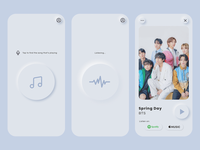 Music Discovery App music player bts spring day ui design ux design music discovery app music app neomorphism daily ui ui