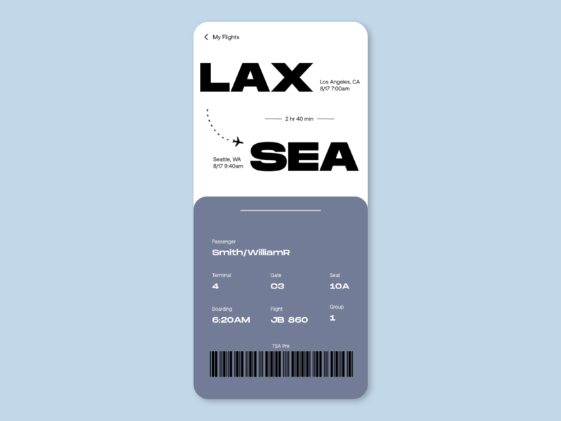 Boarding Pass travel boardingpass ux userexperience ios mobile app daily ui uxdesign userinterfacedesign uidesign mobile design ui