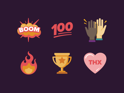 Recurly Emoji emoji sweethearts thanks heart trophy fire high five 100