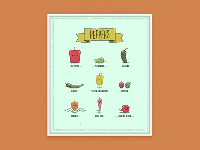 Peppers Poster! cute spicy vegetable fruit pepper