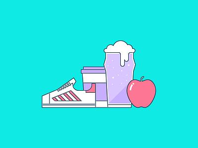 AppDirect Perks Illustration beer apple coffee athletic shoe running shoe