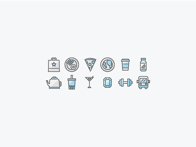 Welcome Guide Icons bus weights gem boba teapot juice coffee dinner breakfast bag delivery