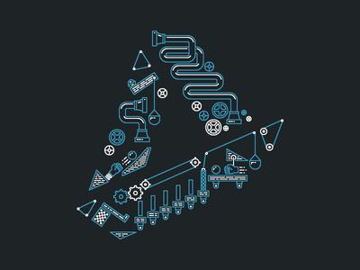 Rube Goldberg Logo Treatment