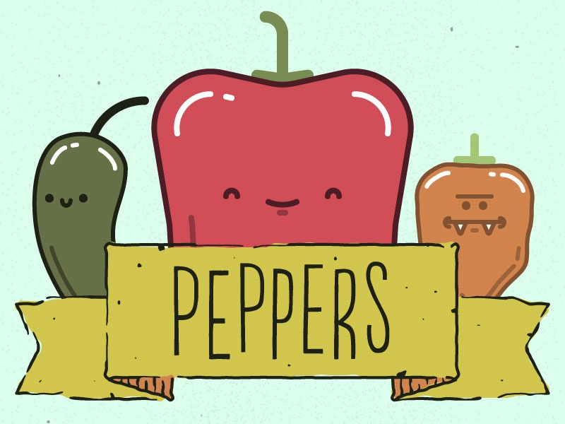 Peppers! on Threadless vegetable fruit cute habanero bell pepper jalapeno