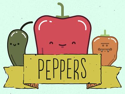 Peppers! on Threadless vegetable fruit cute habanero bell pepper jalapeno
