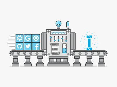AppDirect Sub-Brand Illustration factory lab machine science output input