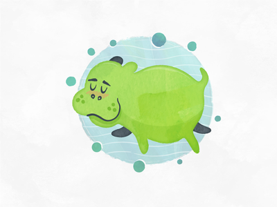 Hippo Style Exploration cute childrens book watercolor hippo