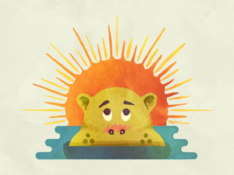 Peekin' Hippo cute childrens book watercolor hippo
