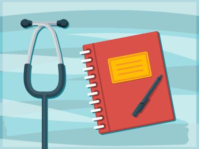 Stethoscope & Notebook vector pen notebook stethoscope