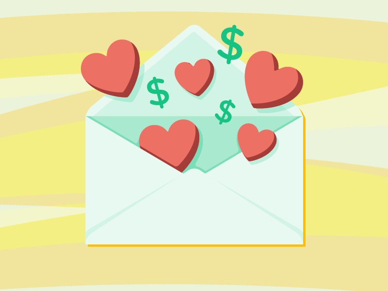 Love & Money dollar sign heart envelope