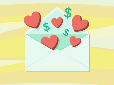 Love & Money dollar sign heart envelope