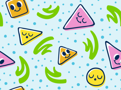Chill Li'l Shapes retro pattern abstract shapes faces cute 80s pattern 90s cartoon