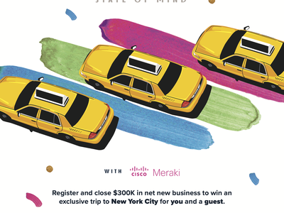 New York Poster celebration confetti paint cab taxi