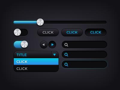 Freebie: Dark UI Kit freebie free ui user interface ui kit user interface kit dark ui